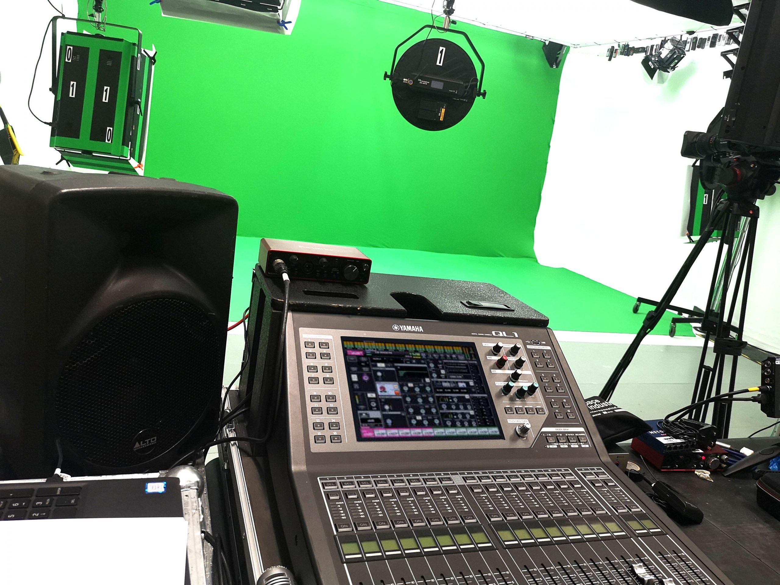 green screen at big brown doors studio hire leeds set up for Sparq & Astra Zeneca